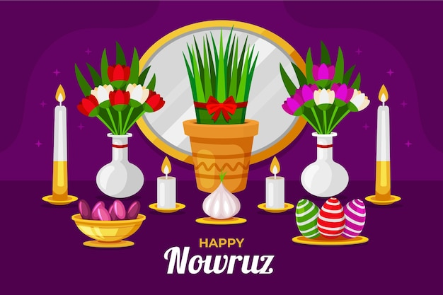 Happy nowruz illustration with candles and mirror Free Vector