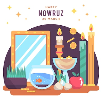 Happy nowruz illustration with candles Free Vector