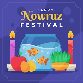 Happy nowruz illustration with fishbowl and apple