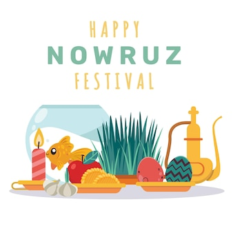 Happy nowruz illustration with fishbowl Free Vector