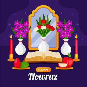 Happy nowruz illustration with mirror and apple Free Vector