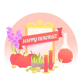 Happy nowruz illustration with mirror and sprouts Free Vector
