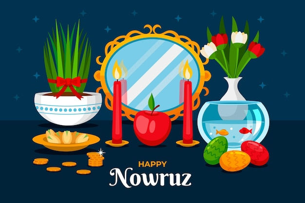 Happy nowruz illustration with mirror