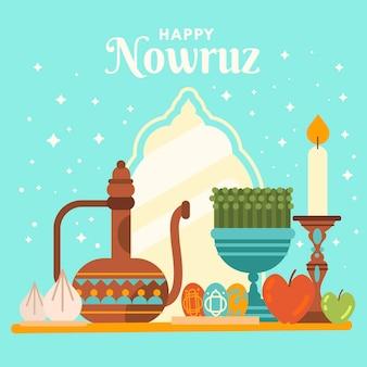 Happy nowruz illustration with mirror Free Vector