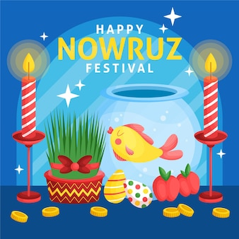 Happy nowruz illustration with sprouts and fishbowl Free Vector