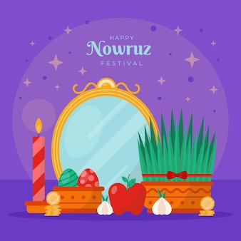 Happy nowruz illustration with sprouts and mirror