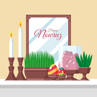Happy nowruz illustration with sprouts and mirror Free Vector