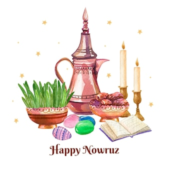 Happy nowruz illustration Free Vector