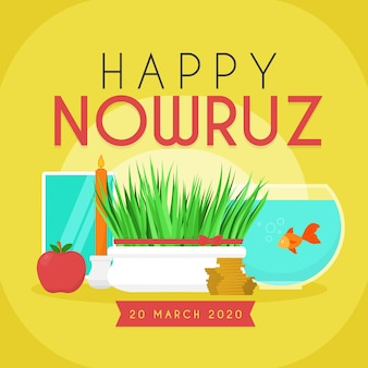 Happy nowruz with grass and fish bowl