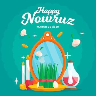 Happy nowruz событие рисованной дизайн