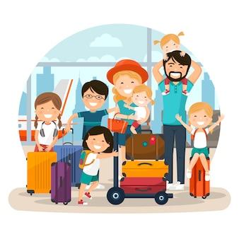 Счастливая многочисленная семья в аэропорту, ожидающая полета