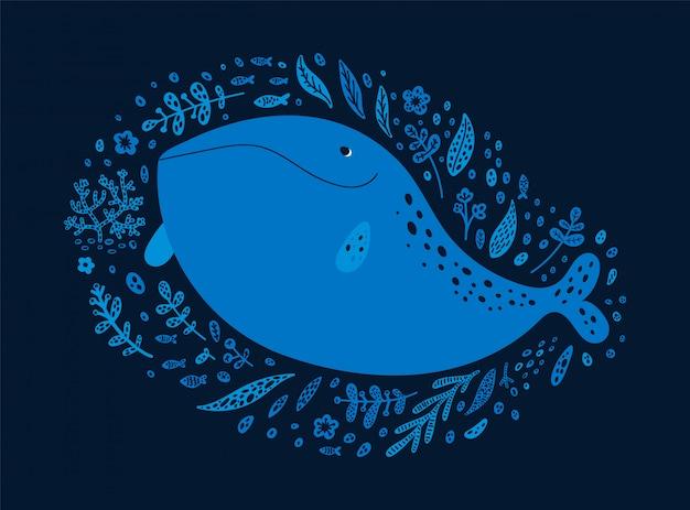 Happy ocean whale isolated on dark