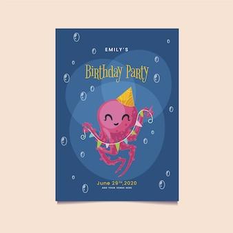 カラフルな花輪の誕生日の招待状を持って幸せなタコ