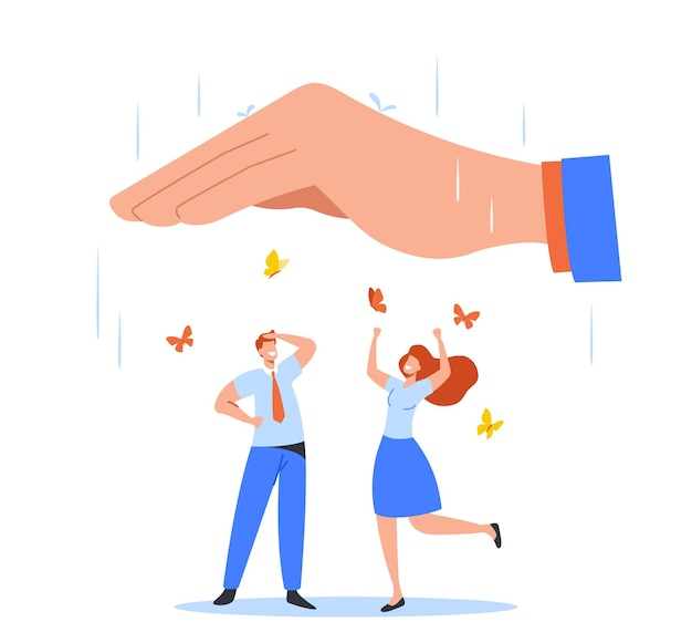 Happy office characters man woman dance and rejoice under huge palm cover them from rain with butterflies flying around