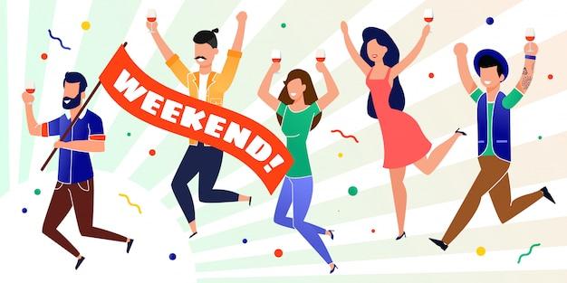 Happy office coworkers celebrating start weekend