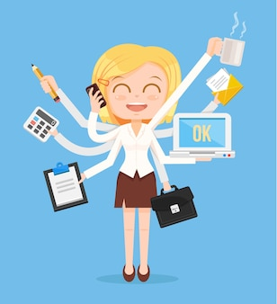 Happy office woman character. multitasking hard work.