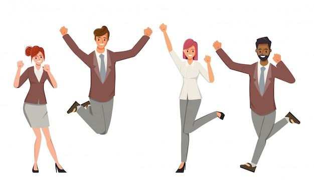 幸せなサラリーマンキャラクター人フラットベクトルイラスト。陽気な企業の従業員の漫画のキャラクターセット。