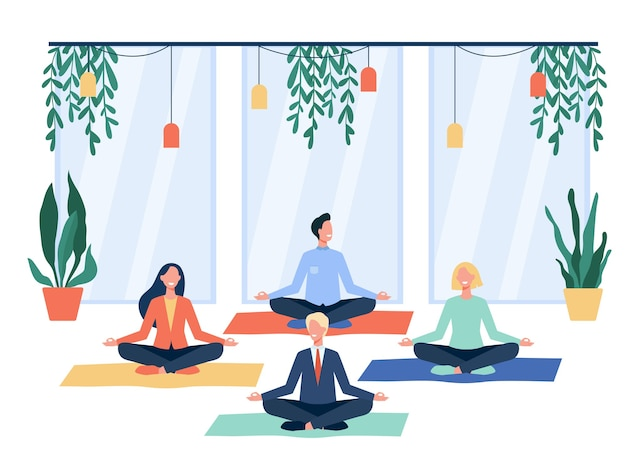 Happy office workers doing yoga, sitting in lotus pose on mats and meditating. employees exercising during break. for mindfulness, stress relief, lifestyle concept