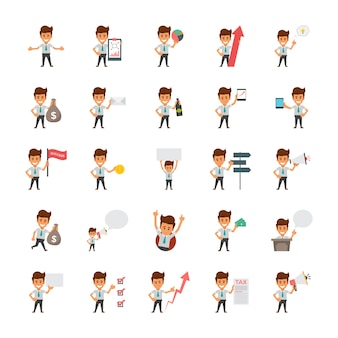 Happy office workers flat vector icons