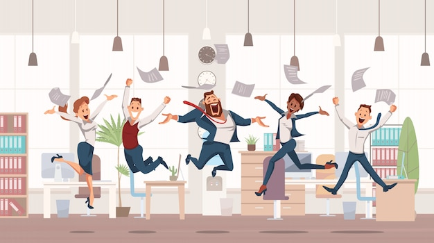 Happy office workers jumping up