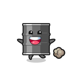 The happy oil drum cartoon with running pose , cute design
