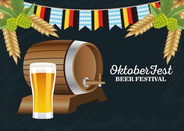 Happy oktoberfest celebration barrel with beer glass and garlands vector illustration design