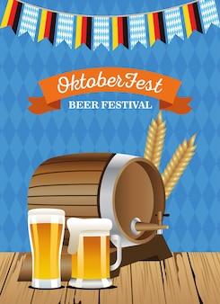 Happy oktoberfest celebration barrel with beers jars and garlands vector illustration design