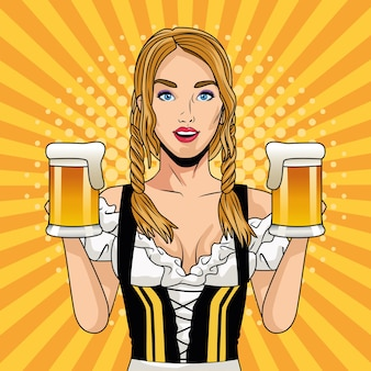 Happy oktoberfest celebration card with beautiful woman drinking beers