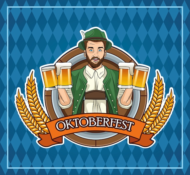 Happy oktoberfest celebration card with german man drinking beers and flag
