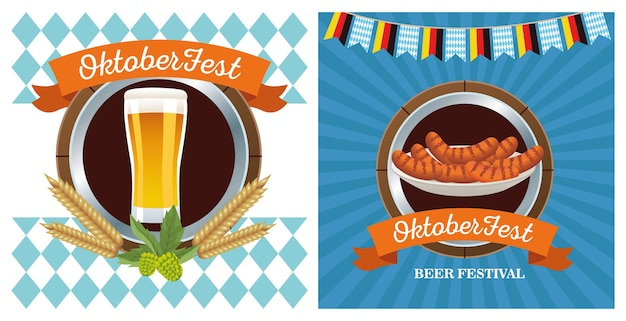 Happy oktoberfest celebration with beer and sausages frames vector illustration design