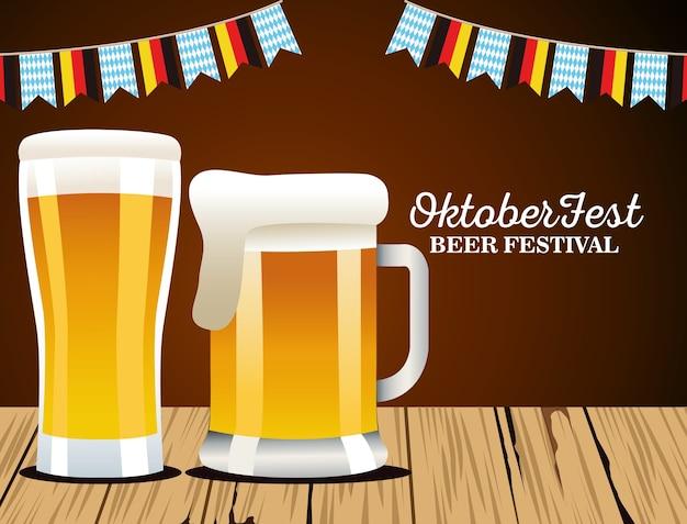 Happy oktoberfest celebration with beers and garlands vector illustration design