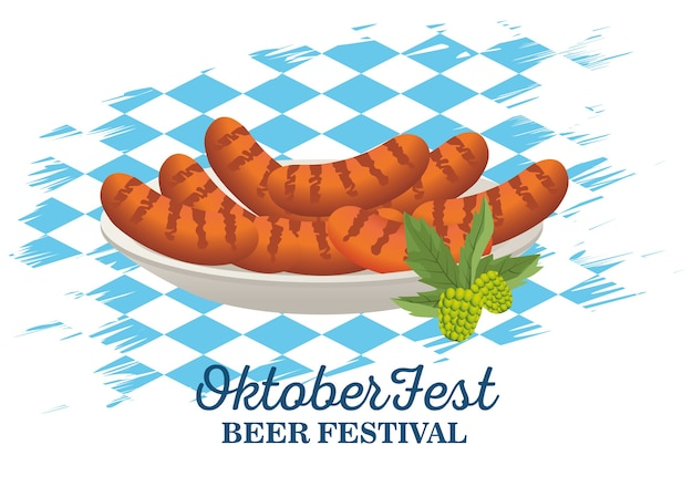 Happy oktoberfest celebration with sausages in dish with flag background vector illustration design