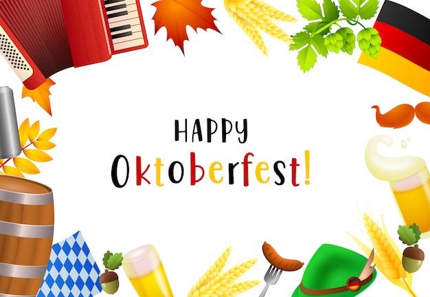 Счастливый октоберфест надписи и элементы фестиваля