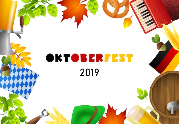 Happy oktoberfest lettering and fest elements