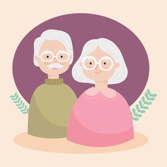 Happy old couple illustration design
