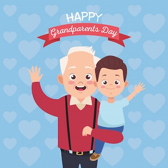 Happy old grandfather with little grandson