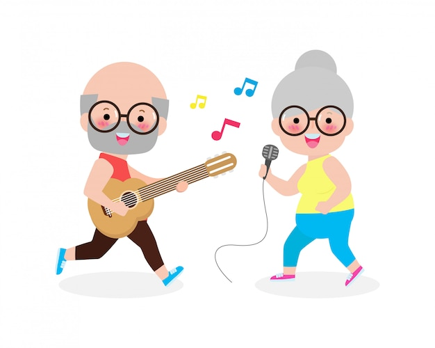 Happy old man playing guitar and old woman singing, cute senior couple making music performance character cartoon isolated on white background  illustration