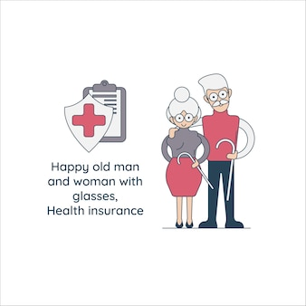 Happy old man and woman with glasses