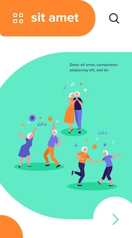 Happy old people dancing isolated flat vector illustration. cartoon senior grandfathers and grandmothers having fun at party