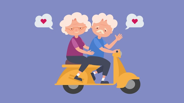 Happy old people drive a motorcycle elderly lovers, good mood and physical health,elderly lovers,spend time together happily good mood and physical health