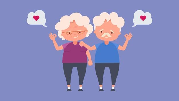 Счастливые пожилые люди, пожилые влюбленные, хорошее настроение и физическое здоровье, пожилые влюбленные, проведите время вместе счастливо, хорошее настроение и физическое здоровье