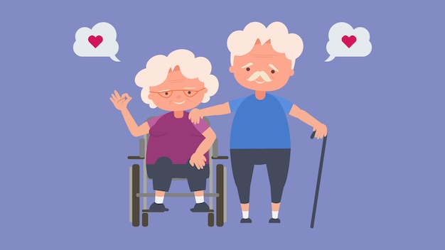 Happy old people,elderly lovers, good mood and physical health,elderly lovers, good mood and physical health