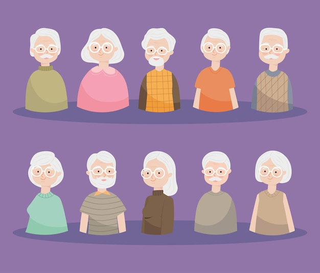 Happy old people icon set