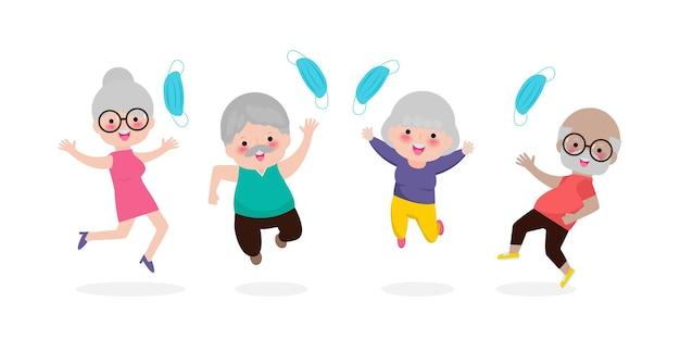 幸せな老人がジャンプして医療用マスクを外す