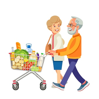 Happy old people shopping