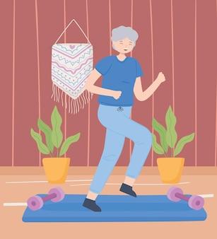 Счастливый фитнес старуха