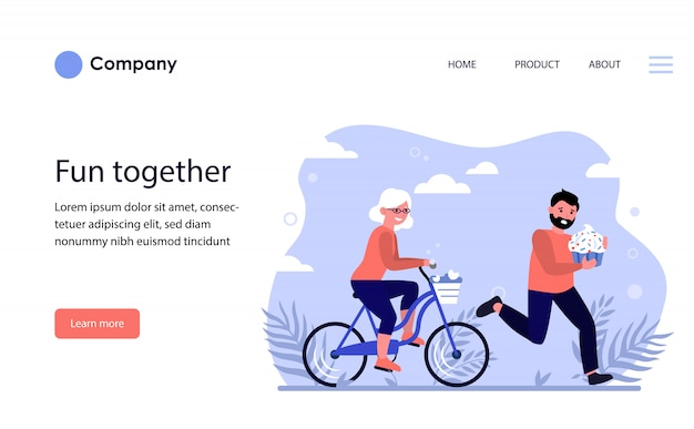 Happy old woman riding bike. website template or landing page