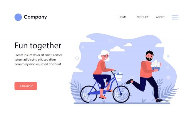 自転車に乗って幸せな老婦人。ウェブサイトテンプレートまたはランディングページ