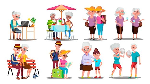 Happy older character grandparents set