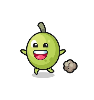 The happy olive cartoon with running pose , cute style design for t shirt, sticker, logo element
